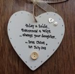 Shabby personalised Gift Chic Heart Plaque Mother Of The Bride Wedding Present